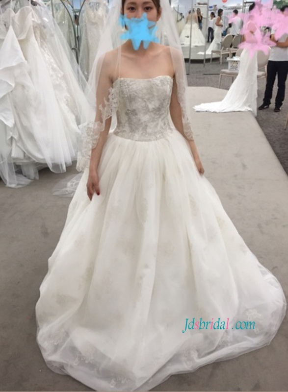 H1122 Custom inspired metallic embroidery lace tulle wedding dress