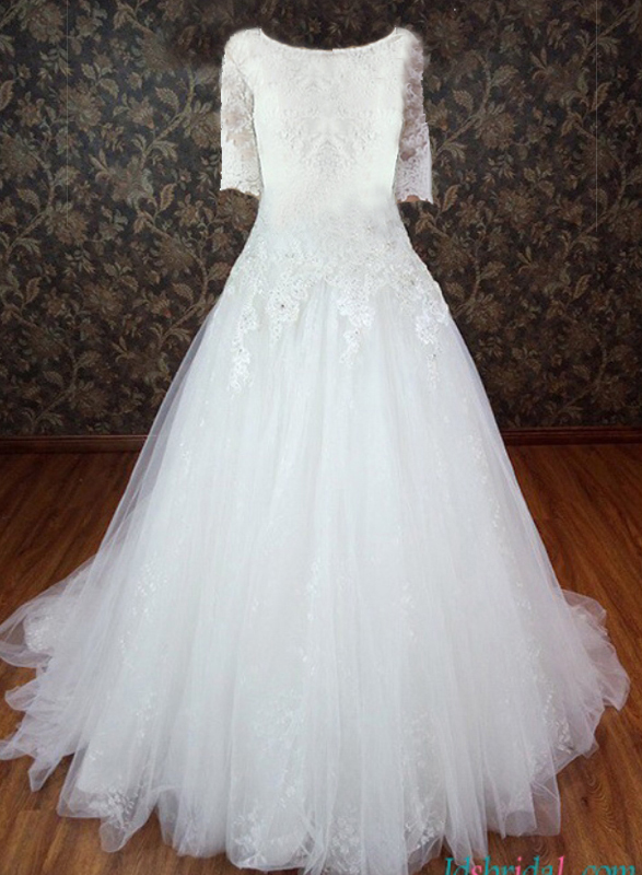 H1123 Custom Modest illusion lace 1/2 sleeved tulle princess wedding gown