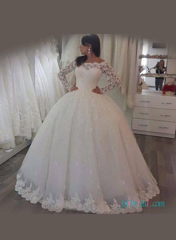 H1126 modest lace illusion long sleeved tulle ball gown for Tulle wedding dress with sleeves