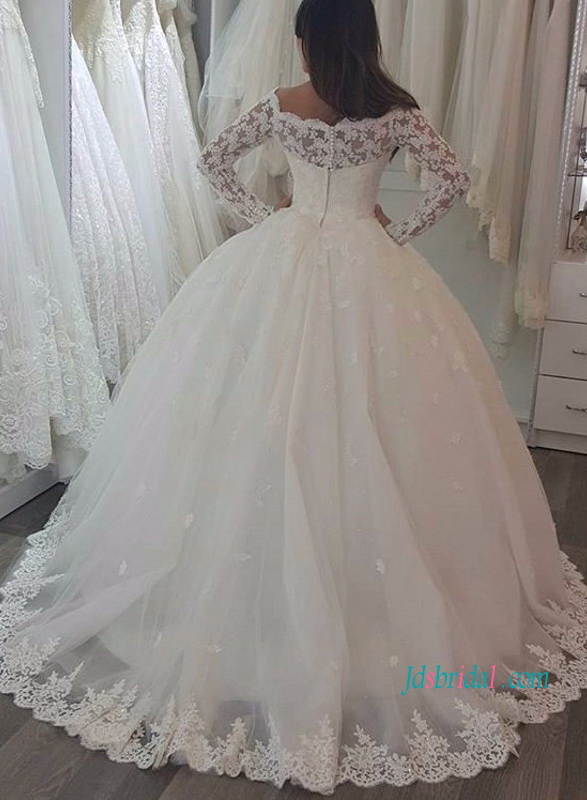 H1126 Modest lace illusion long sleeved tulle ball gown wedding dress