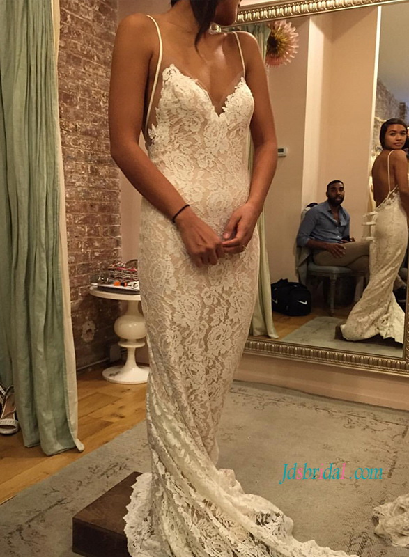 H1127 Sexy soft backless lace bohemian destination wedding dress