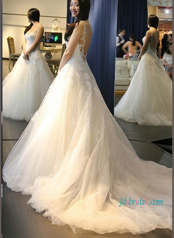 H1128 Sexy Backless lace tulle a line wedding dress