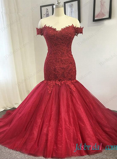 H1129 Burgundy red color Lace off shoulder mermaid wedding dress