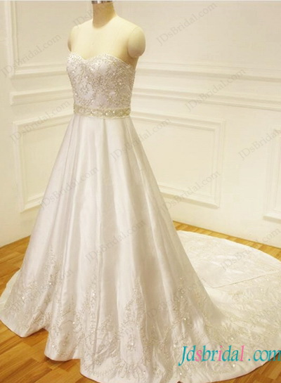 H1132 Exquisite beaded silvery embrodiery satin wedding dress