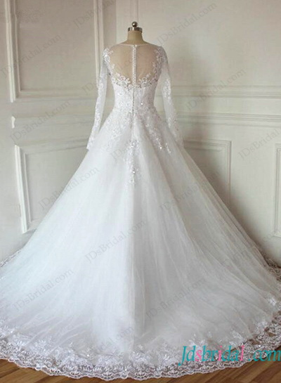 H1135 Romance sheer top long sleeved tulle wedding ball gown