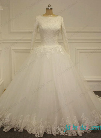H1136 Modest muslim long sleeves tulle ball gown wedding dress