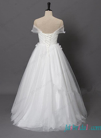 H1140 Tulle wrapped shoulder a line wedding dress with flowers
