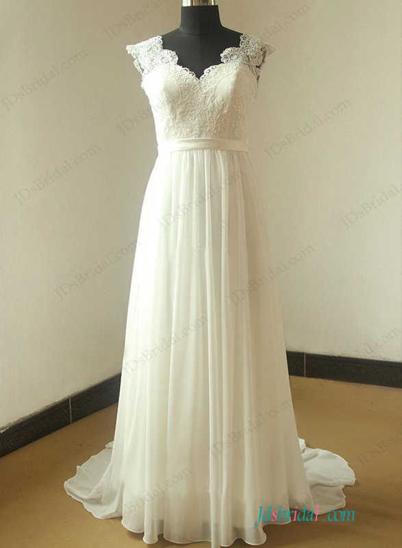 H1144 Romantic open back cap sleeved chiffon beach wedding dress