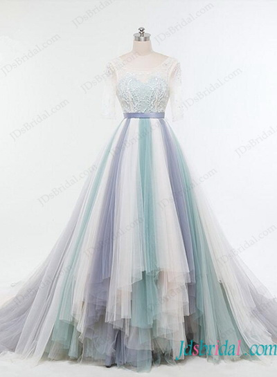 H1145 stunning pastel colorfull tulle high low wedding dress for High low ball gown wedding dress