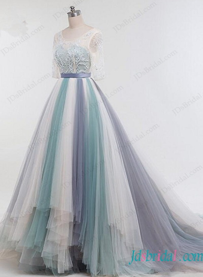 H1145 Stunning pastel colorfull tulle high low wedding dress
