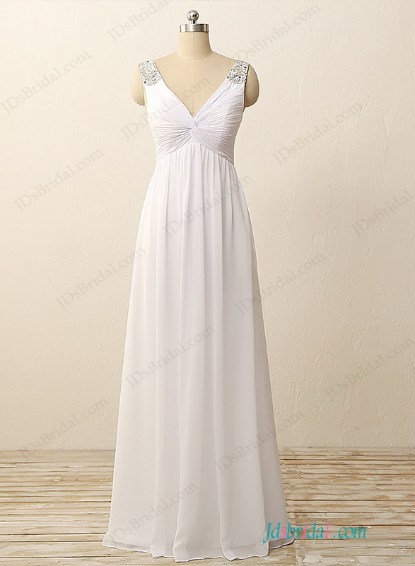 H1146 Simple deep v neck empire a line chiffon wedding dress