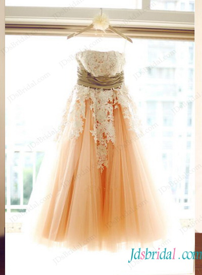 H1147 Vintage Blush colored ivory lace tea length wedding dress