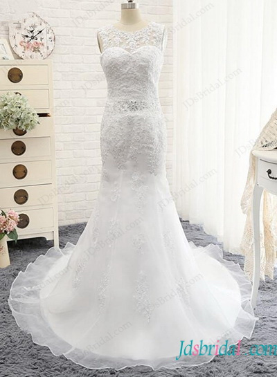 H1148 Sexy low back organza lace mermaid wedding dress
