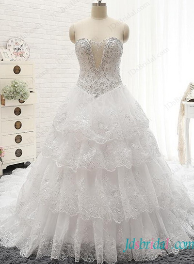 H1149 Plus size slivery crystal sequins lace tiered ball gown