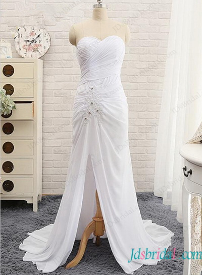 H1150 Simple sheath white chiffon slit beach wedding dress