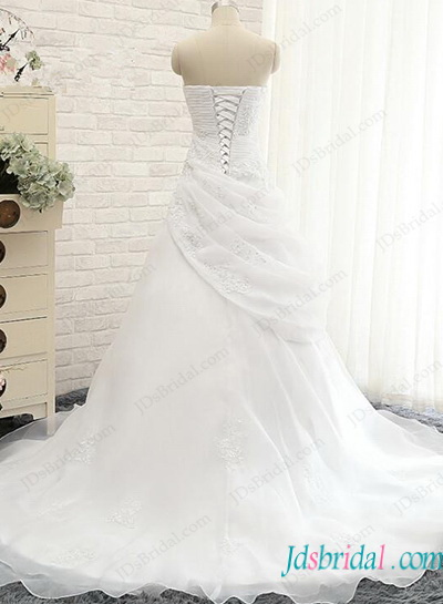 H1151 Romance white organza sweetheart neck wedding dress