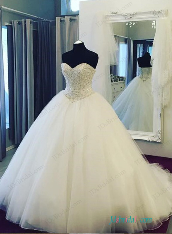 H1155 Stunning Beaded Bodice Princess Ball Gown Wedding Dress