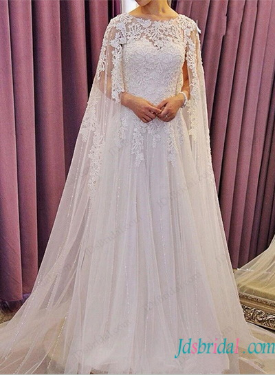 H1156 Romance watteau train lace a line tulle wedding dress