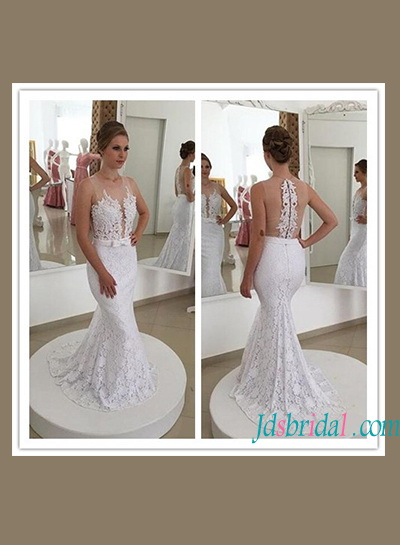 H1157 Sexy sheer back illusion lace mermaid wedding dress