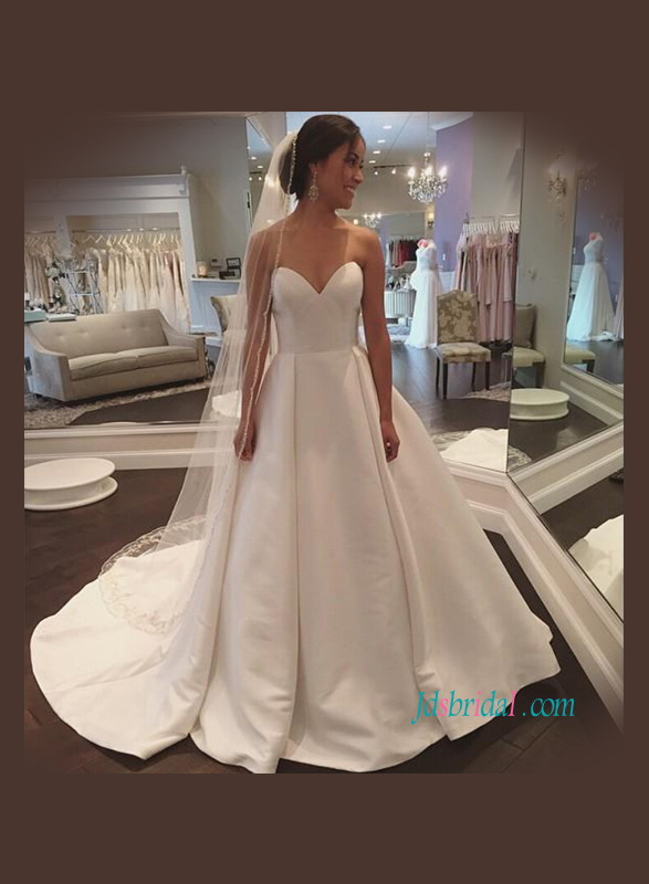 Cheap satin wedding dresses simply plus size classic for Satin a line wedding dress