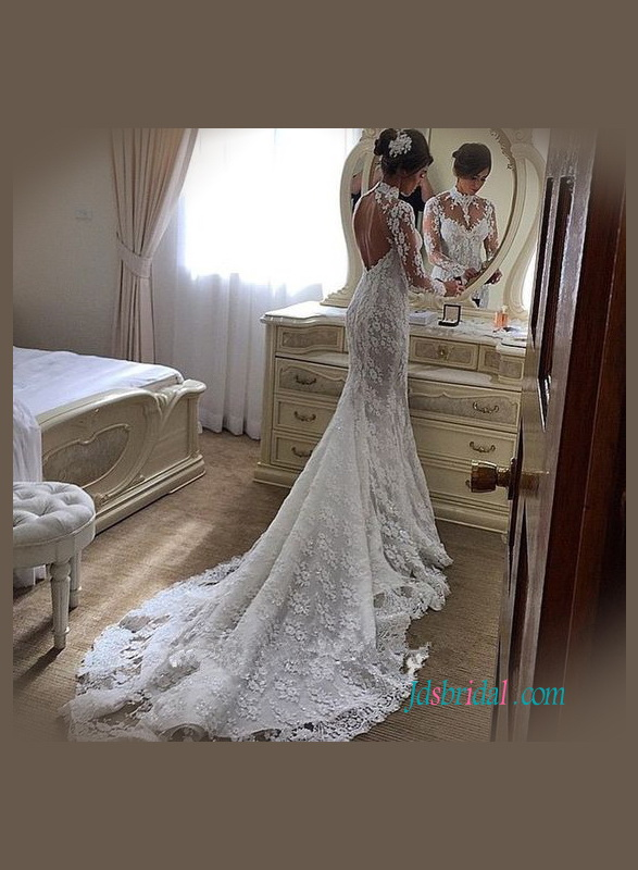 H1159 Sexy open back long sleeved high neck lace mermaid wedding dress