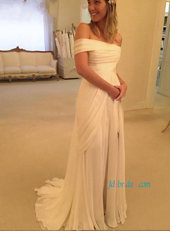 H1160 Greek off shoulder airy chiffon slit beach wedding dress