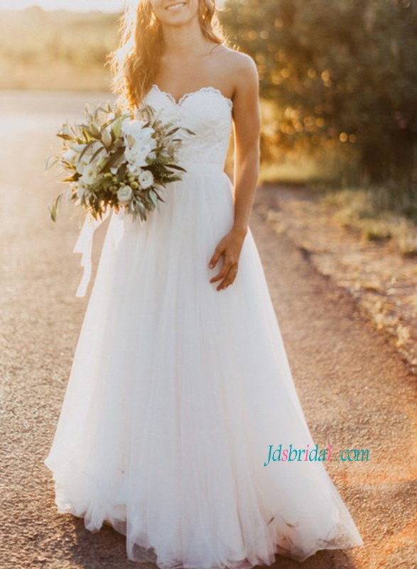 H1161 Simple strapless lace bodice chiffon a line wedding dress
