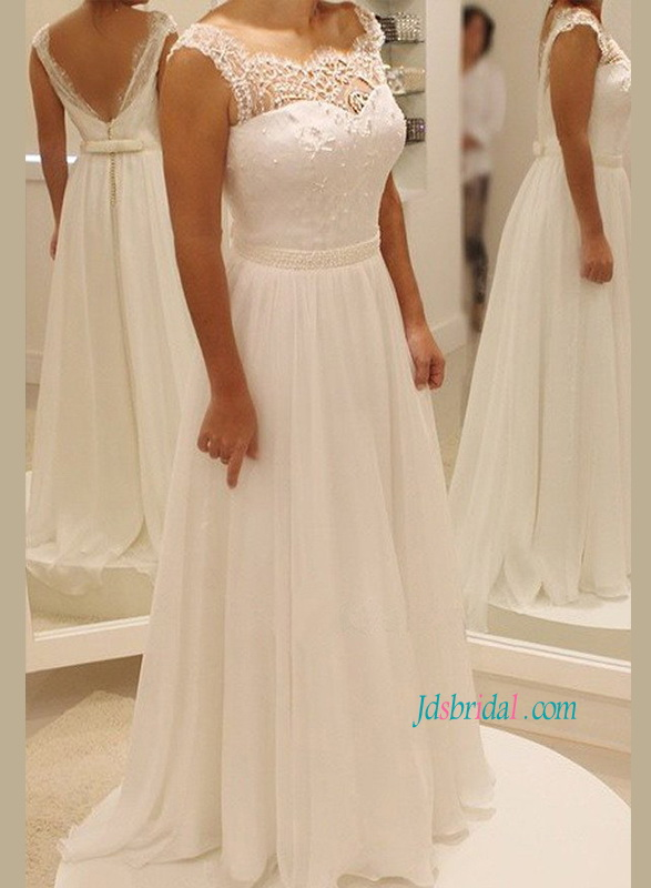 H1162 Simple casual flowy chiffon low back beach wedding dress :