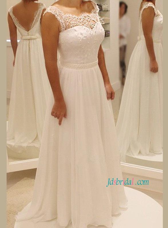 H1162 Simple Casual Flowy Chiffon Low Back Beach Wedding Dress