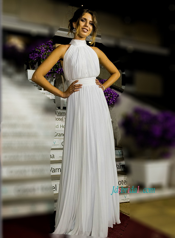 H1164 Sexy simple halter pleated chiffon open back wedding dress