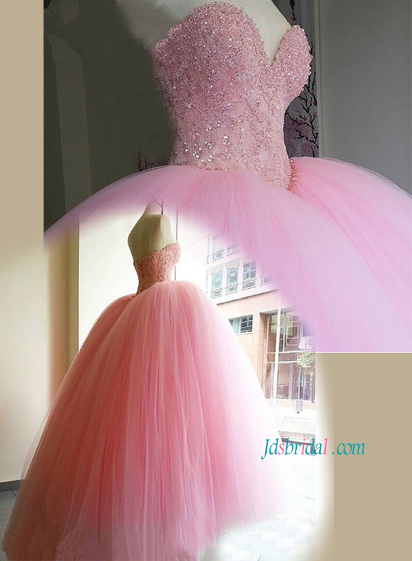 H1165 Stunning pink color sweetheart neck princess wedding dress