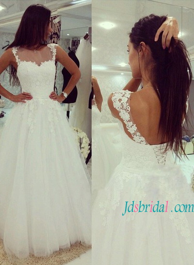 H1166 Beautiful lace bodice low back tulle wedding ball gown