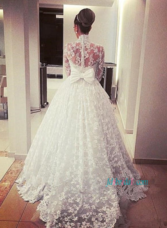 H1167 Sexy illusion lace long sleeved high neck ball gown wedding dress