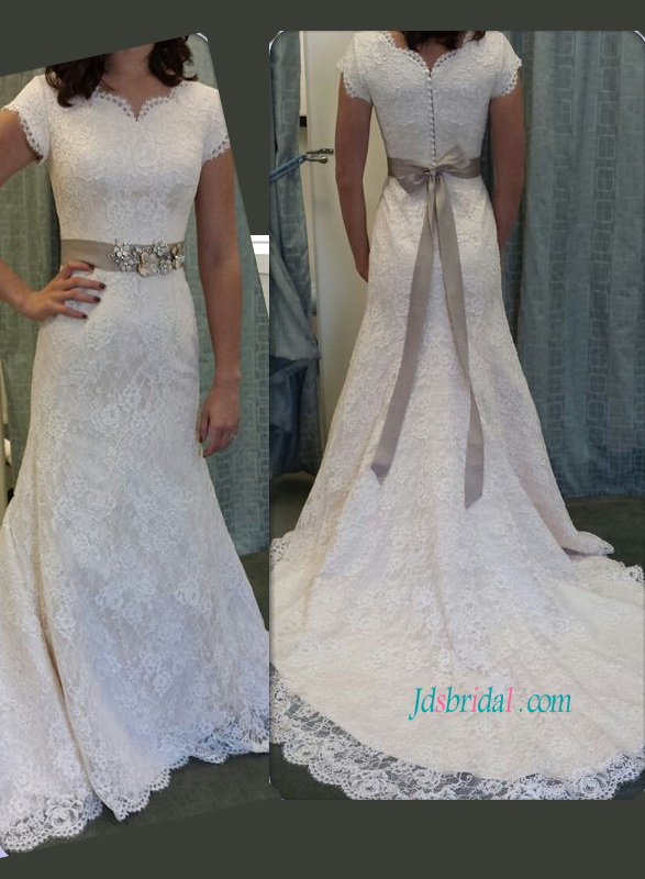 H1169 Modest short sleeves lace mermaid wedding dress