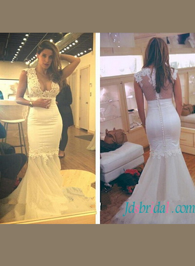 H1170 Sexy sheer back illusion tulle bottom mermaid wedding dress