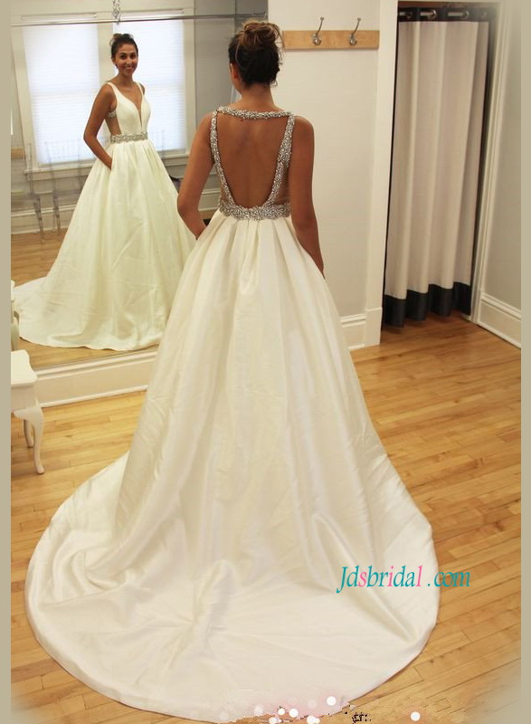 H1172 Sexy open back taffeta plunging wedding dress