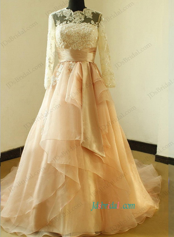 H1173 Beautiful Illusion Lace Top Long Sleeved Ball Gown Wedding