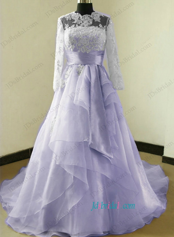 H1173 Beautiful illusion lace top long sleeved ball gown wedding dress
