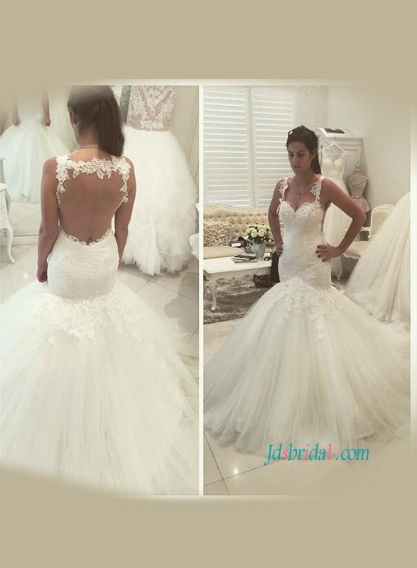 H1176 Sexy sheer tulle back lace straps mermaid wedding dress