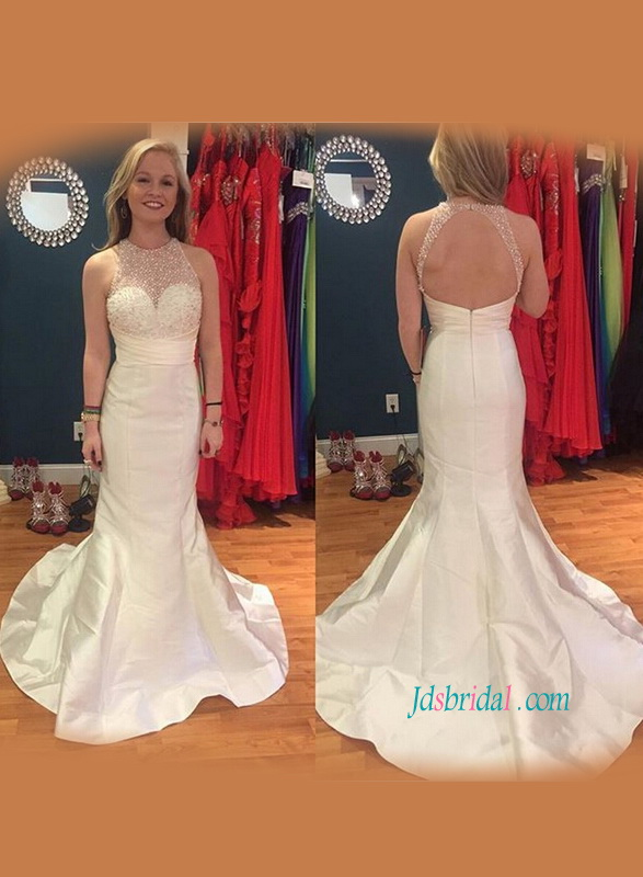 H1177 Sexy open back beading halter mermaid wedding dress
