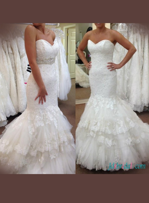 H1178 Stunning sweetheart neck lace mermaid wedding dress