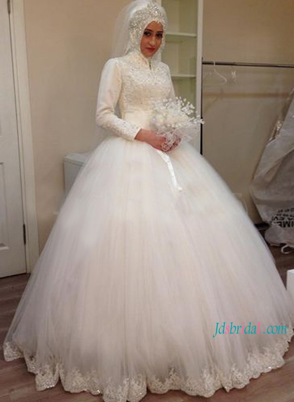H1179 Ic High Neck Long Sleeves Tulle Ball Gown Wedding Dress