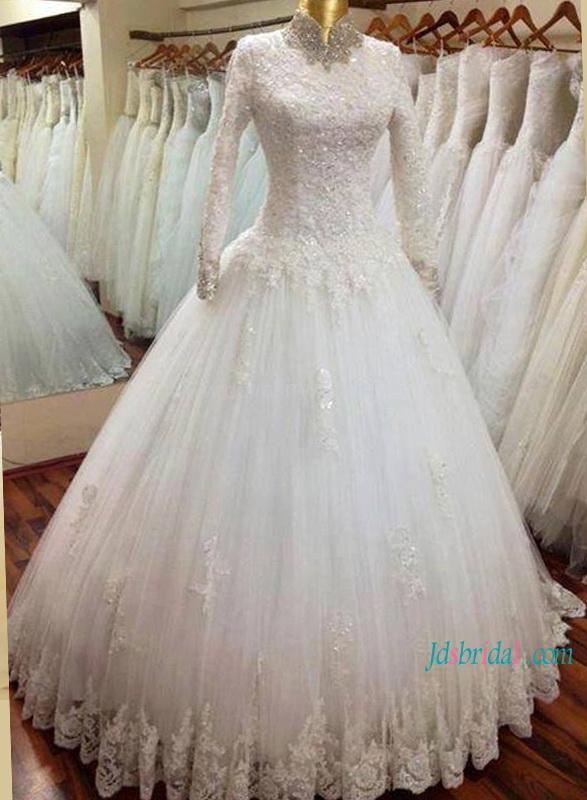 8aacf5a79acc2 H1180 Modest high neckline long sleeves muslim wedding ball gown :