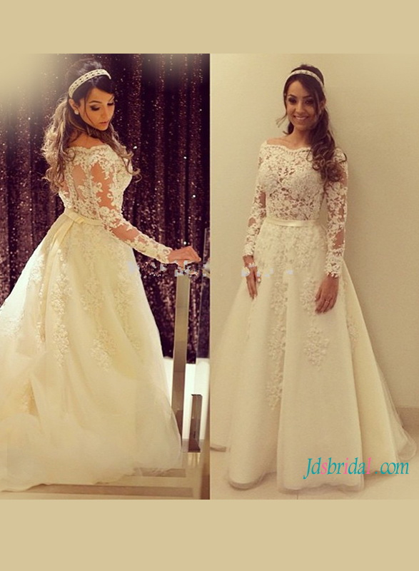 H1181 Sexy illusion lace bodice tulle wedding dress with long sleeves