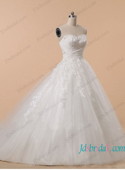H1183 Plus size strapless tulle ball gown wedding dress