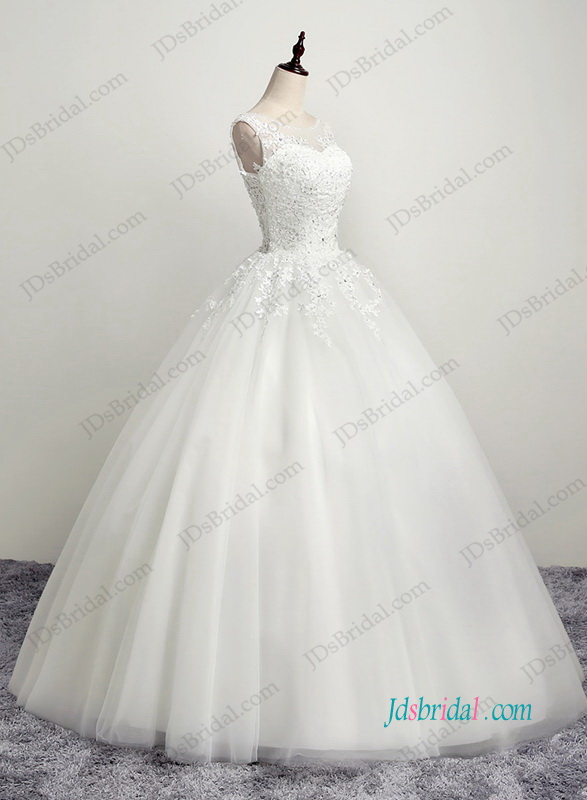 H1184 Beautiful illusion lace back tulle ball gown wedding dress