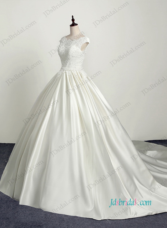 H1186 Graceful open back satin bateau neck wedding ball gown