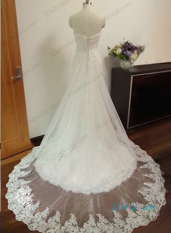 romantic strapless lace mermaid and a line tulle wedding dresses