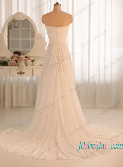 H1188 Simple a line flowy chiffon beach wedding dress