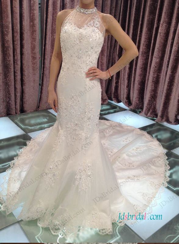 H1190 Sexy low back beading halter lace mermaid wedding dress